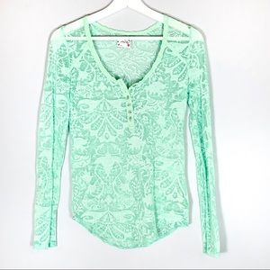Free People | Mint Green Lace Henley S